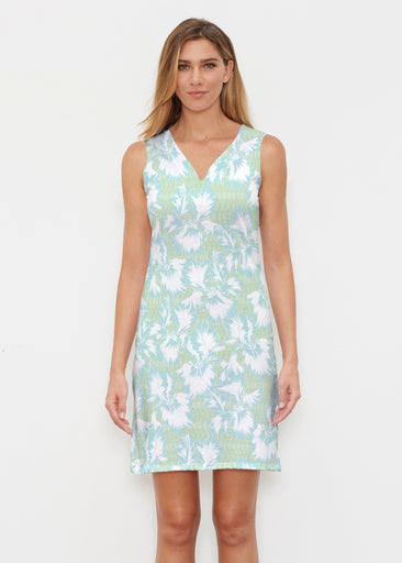 Graphic Floral Stripe Green (7670) ~ Classic Sleeveless Dress