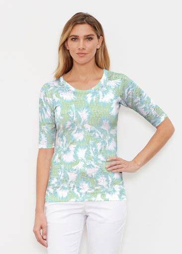 Graphic Floral Stripe Green (7670) ~ Elbow Sleeve Crew Shirt