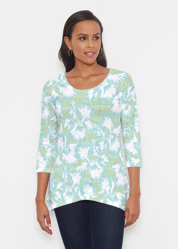 Graphic Floral Stripe Green (7670) ~ Katherine Hi-Lo Thermal Tunic