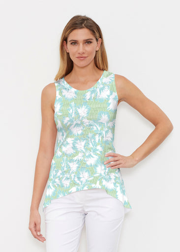 Graphic Floral Stripe Green (7670) ~ Signature High-low Tank