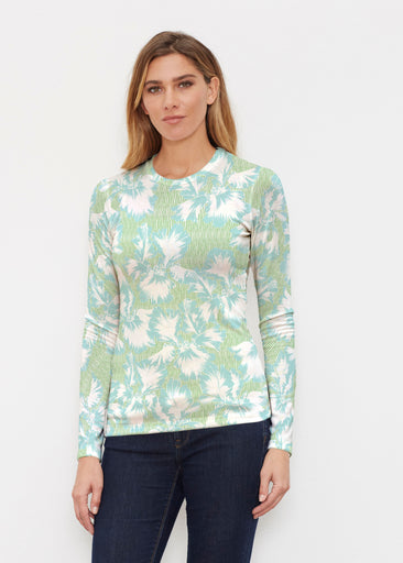 Graphic Floral Stripe Green (7670) ~ Butterknit Long Sleeve Crew Top