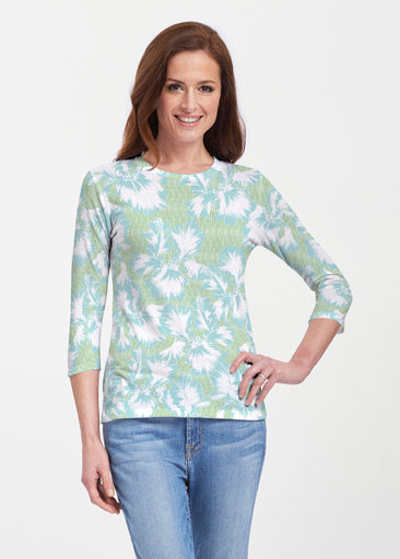 Graphic Floral Stripe Green (7670) ~ 3/4 Sleeve Crew