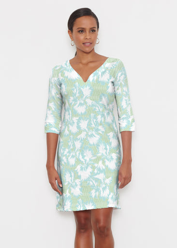 Graphic Floral Stripe Green (7670) ~ Classic 3/4 Sleeve Sweet Heart V-Neck Dress