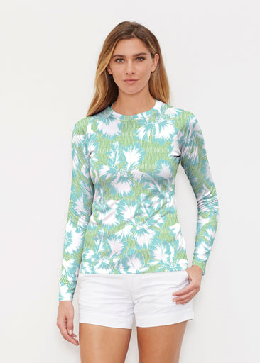 Graphic Floral Stripe Green (7670) ~ Long Sleeve Rash Guard