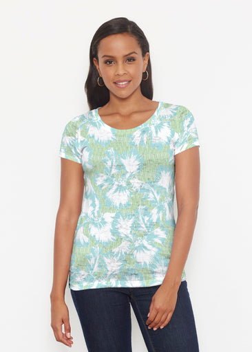 Graphic Floral Stripe Green (7670) ~ Signature Short Sleeve Scoop Shirt