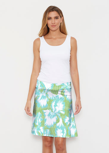 Graphic Floral Stripe Green (7670) ~ Silky Brenda Skirt 21 inch