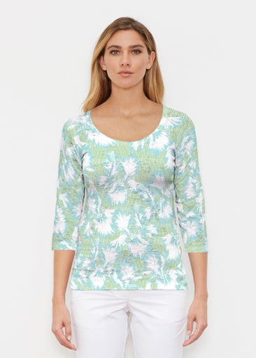 Graphic Floral Stripe Green (7670) ~ Signature 3/4 Sleeve Scoop Shirt