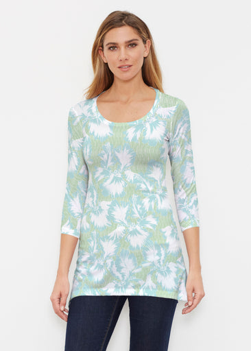 Graphic Floral Stripe Green (7670) ~ Buttersoft 3/4 Sleeve Tunic