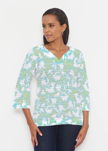 Graphic Floral Stripe Green (7670) ~ Banded 3/4 Bell-Sleeve V-Neck Tunic