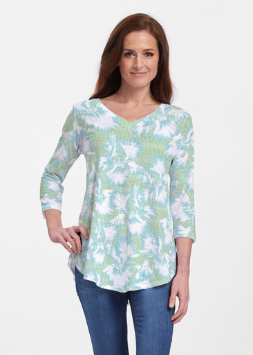 Graphic Floral Stripe Green (7670) ~ V-neck Flowy Tunic