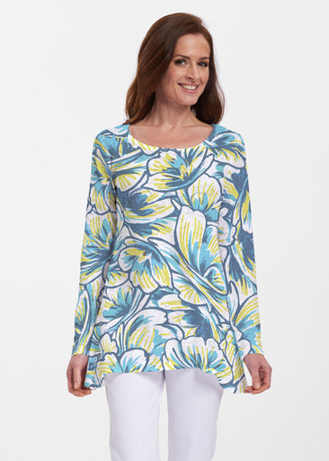 Floral Brush Marks Blue (7671) ~ Abigail Thermal Tunic
