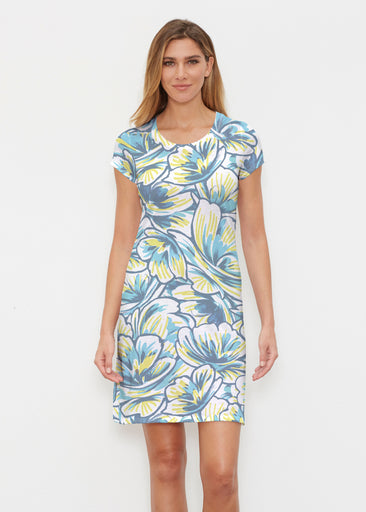 Floral Brush Marks Blue (7671) ~ Classic Crew Dress