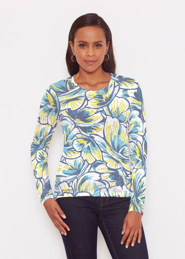 Floral Brush Marks Blue (7671) ~ Signature Long Sleeve Crew Shirt
