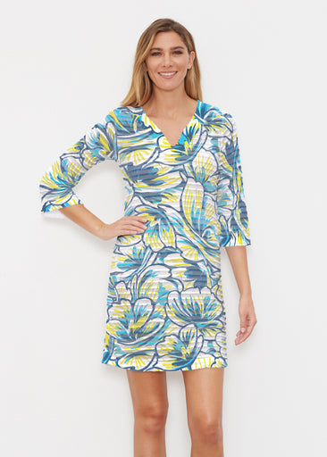 Floral Brush Marks Blue (7671) ~ Banded 3/4 Sleeve Cover-up Dress