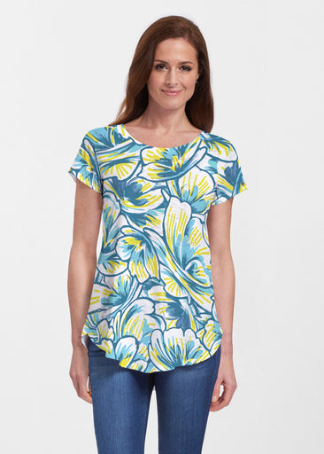 Floral Brush Marks Blue (7671) ~ Signature Short Sleeve Scoop Neck Flowy Tunic