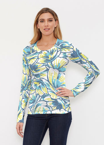 Floral Brush Marks Blue (7671) ~ Thermal Long Sleeve Crew Shirt