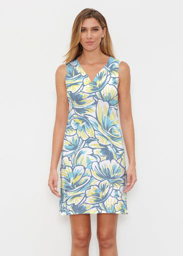 Floral Brush Marks Blue (7671) ~ Classic Sleeveless Dress