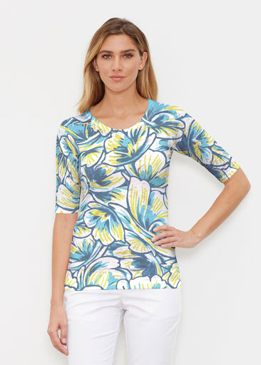 Floral Brush Marks Blue (7671) ~ Elbow Sleeve Crew Shirt