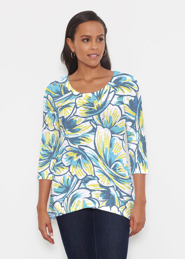 Floral Brush Marks Blue (7671) ~ Katherine Hi-Lo Thermal Tunic