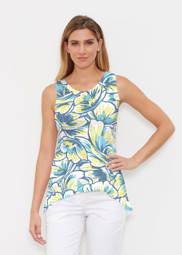 Floral Brush Marks Blue (7671) ~ High-low Tank
