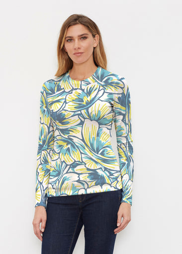 Floral Brush Marks Blue (7671) ~ Butterknit Long Sleeve Crew Top