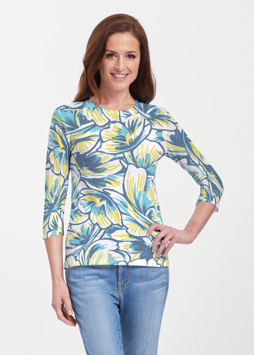 Floral Brush Marks Blue (7671) ~ 3/4 Sleeve Crew