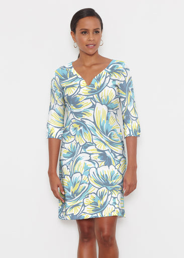 Floral Brush Marks Blue (7671) ~ Classic 3/4 Sleeve Sweet Heart V-Neck Dress