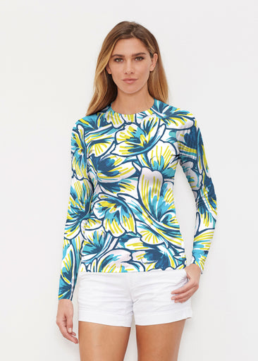 Floral Brush Marks Blue (7671) ~ Long Sleeve Rash Guard
