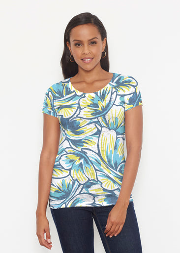 Floral Brush Marks Blue (7671) ~ Signature Short Sleeve Scoop Shirt