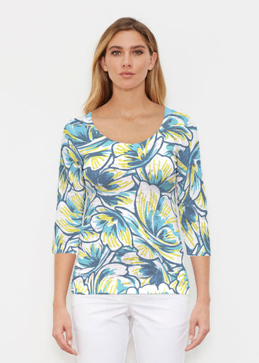Floral Brush Marks Blue (7671) ~ Signature 3/4 Sleeve Scoop Shirt