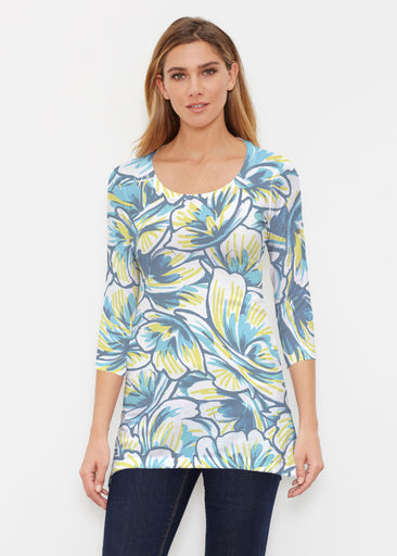 Floral Brush Marks Blue (7671) ~ Buttersoft 3/4 Sleeve Tunic
