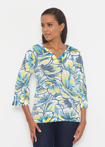 Floral Brush Marks Blue (7671) ~ Banded 3/4 Bell-Sleeve V-Neck Tunic