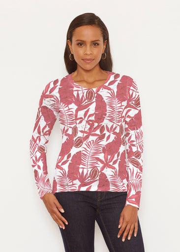 Painted Tropics Red (7672) ~ Signature Long Sleeve Crew Shirt