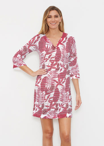 Painted Tropics Red (7672) ~ Banded 3/4 Sleeve Cover-up Dress