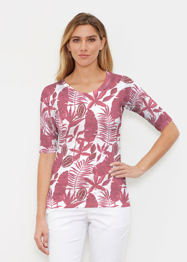 Painted Tropics Red (7672) ~ Elbow Sleeve Crew Shirt