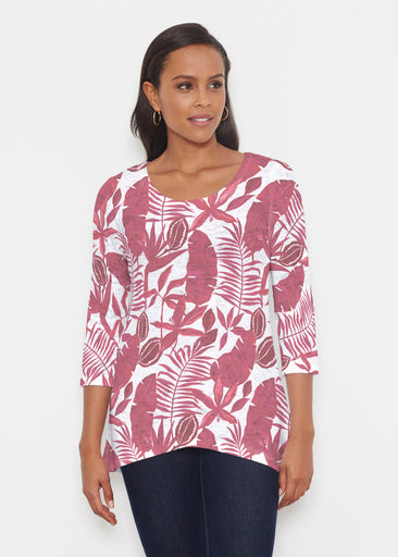 Painted Tropics Red (7672) ~ Katherine Hi-Lo Thermal Tunic