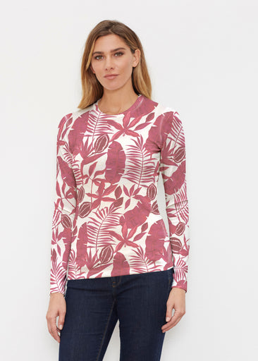 Painted Tropics Red (7672) ~ Butterknit Long Sleeve Crew Top