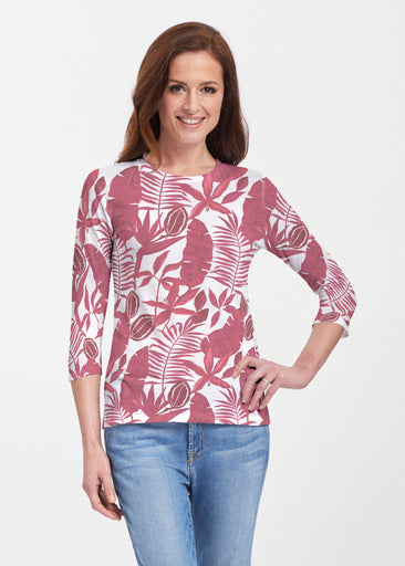 Painted Tropics Red (7672) ~ 3/4 Sleeve Crew