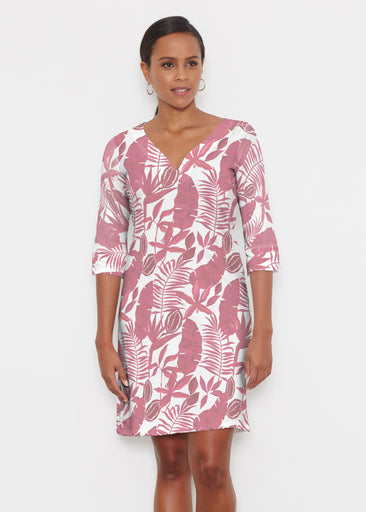 Painted Tropics Red (7672) ~ Classic 3/4 Sleeve Sweet Heart V-Neck Dress