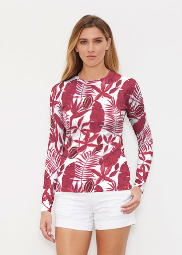 Painted Tropics Red (7672) ~ Long Sleeve Rash Guard