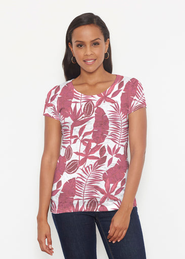 Painted Tropics Red (7672) ~ Short Sleeve Scoop Shirt