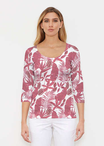 Painted Tropics Red (7672) ~ Signature 3/4 Sleeve Scoop Shirt