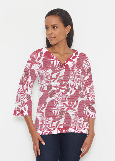 Painted Tropics Red (7672) ~ Banded 3/4 Bell-Sleeve V-Neck Tunic