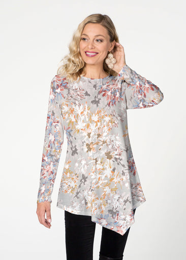 Floral Burst Beige (7674) ~ Asymmetrical French Terry Tunic