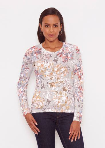 Floral Burst Beige (7674) ~ Signature Long Sleeve Crew Shirt