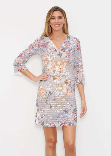 Floral Burst Beige (7674) ~ Banded 3/4 Sleeve Cover-up Dress