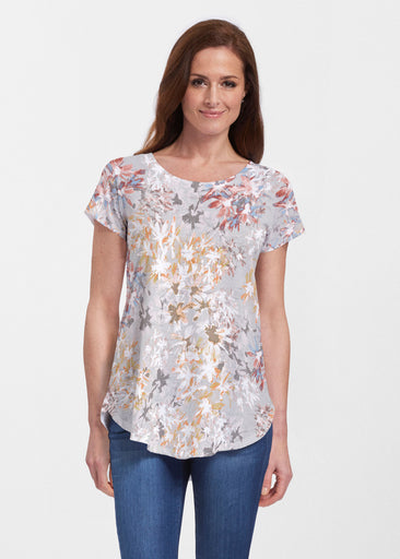 Floral Burst Beige (7674) ~ Signature Short Sleeve Scoop Neck Flowy Tunic