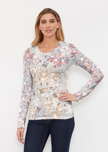 Floral Burst Beige (7674) ~ Thermal Long Sleeve Crew Shirt