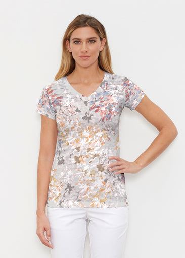 Floral Burst Beige (7674) ~ Signature Cap Sleeve V-Neck Shirt