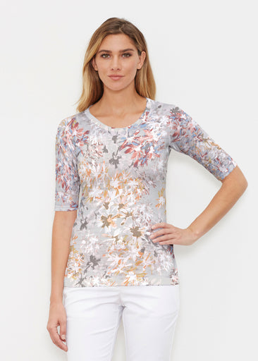 Floral Burst Beige (7674) ~ Elbow Sleeve Crew Shirt